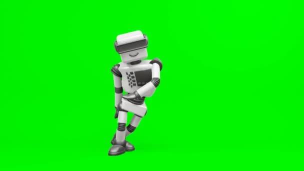 Moderní robot tancující Hip-hop. Robot se pohybuje velmi přirozeně na zeleném pozadí.