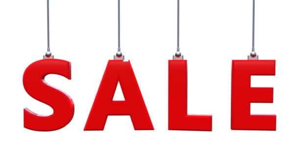 großer roter Wortverkauf, bestehend aus separaten roten Buchstaben, die an den Seilen hängen und rotieren.