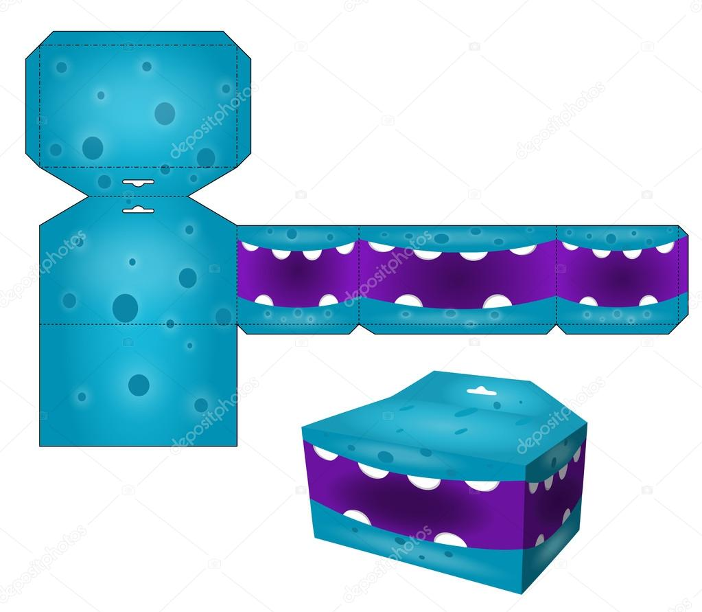 die paper boxes templates with cartoon monsters cube box with die