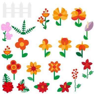 "Картина, постер, плакат, фотообои ""flower set in a flat style flower set. spring flowers. vector flat illustration"", артикул 72845767"
