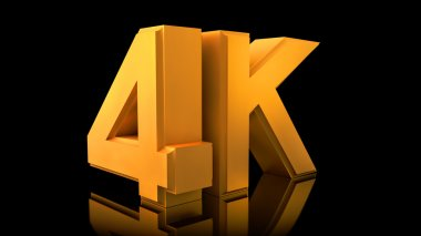 Large three-dimensional logo on a black reflective background. Matte gold.  Video 4K logo.