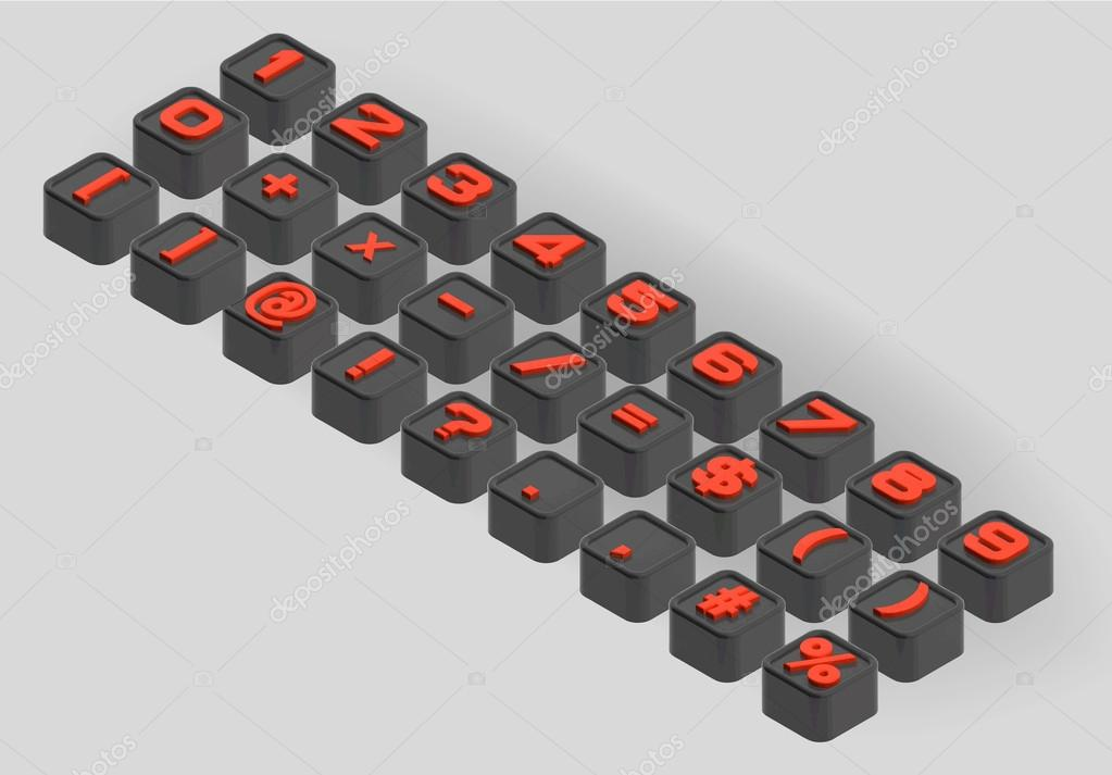 Small Smoothed Cubes Letters The Three Dimensional Axonometric Set