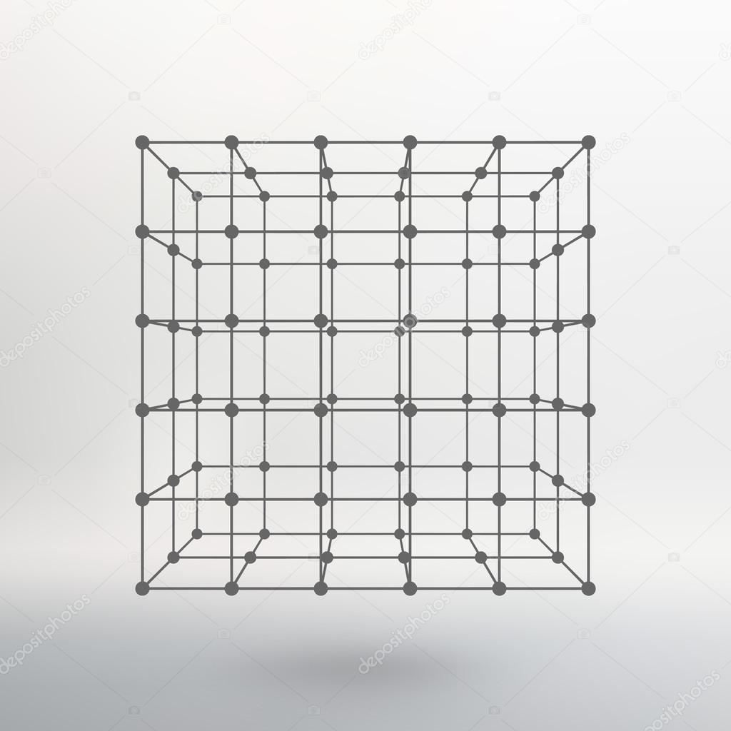 Cube von Linien und Punkten. Cube der auf Punkte angeschlossenen ...