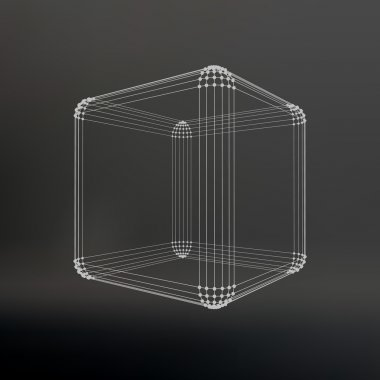 Cube of lines and dots. Cube of the lines connected to points. Molecular lattice. The structural grid of polygons. Black background. The facility is located on a black studio background.