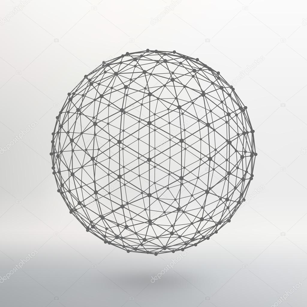Umfang der Linien und Punkte. Ball der auf Punkte angeschlossenen ...