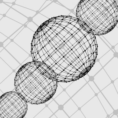 Abstract  Mesh polygonal background. Scope of lines and dots. Ball of the lines connected to points. Molecular lattice. The structural grid of polygons.