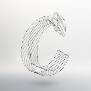 Vector illustration of letter  on white background. Fonts of Mesh polygonal. Wire frame contour alphabets