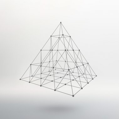 Wireframe mesh Polygonal pyramid. Pyramid of the lines connected points. Atomic lattice. Driving a constructive solution of the pyramid. Vector Illustration EPS10.