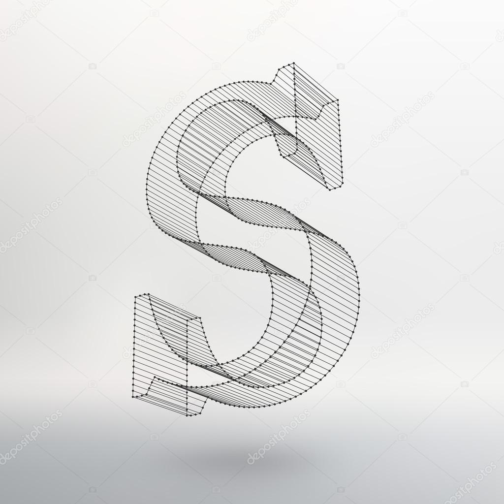 Vector illustration of letter on white background. Fonts of Mesh ...
