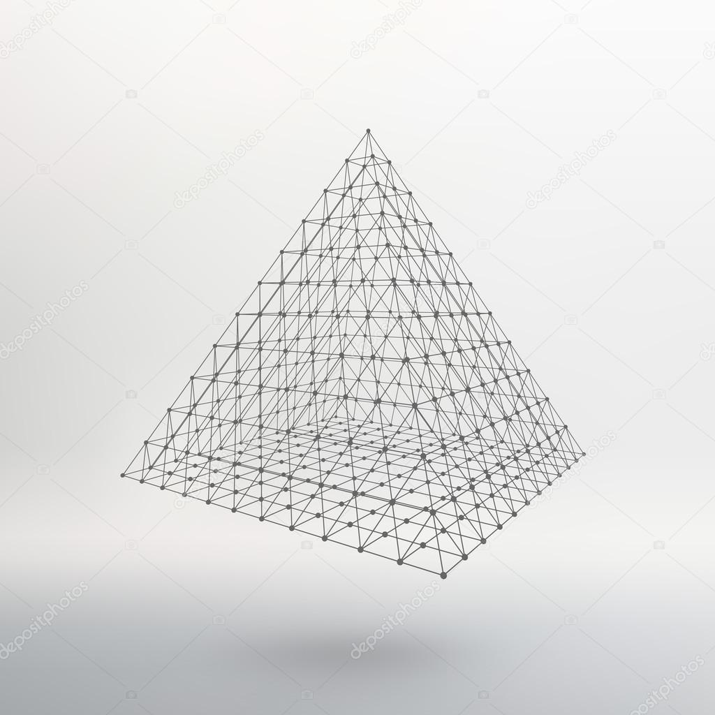 Wireframe mesh Polygonal pyramid. Pyramid of the lines connected ...