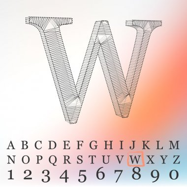 Vector illustration of letter  background. Fonts of Mesh polygonal. Wire frame contour alphabets