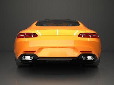 Sports car rear view. The image of a sports gold car on a gray background.