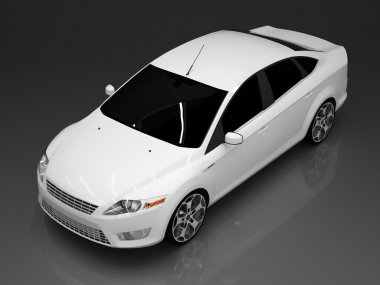 Car top view. The image of a white car on a gray background.