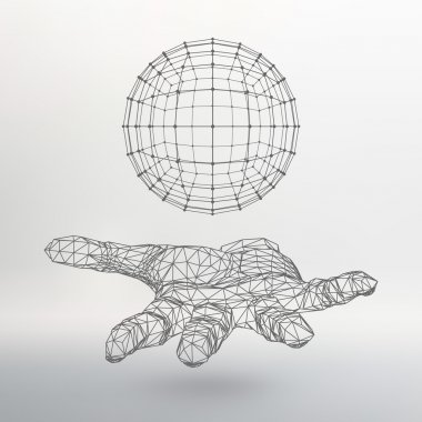 Ball on the arm. The hand holding a sphere. Polygon ball. Polygonal hand. The shadow of the objects in the background.