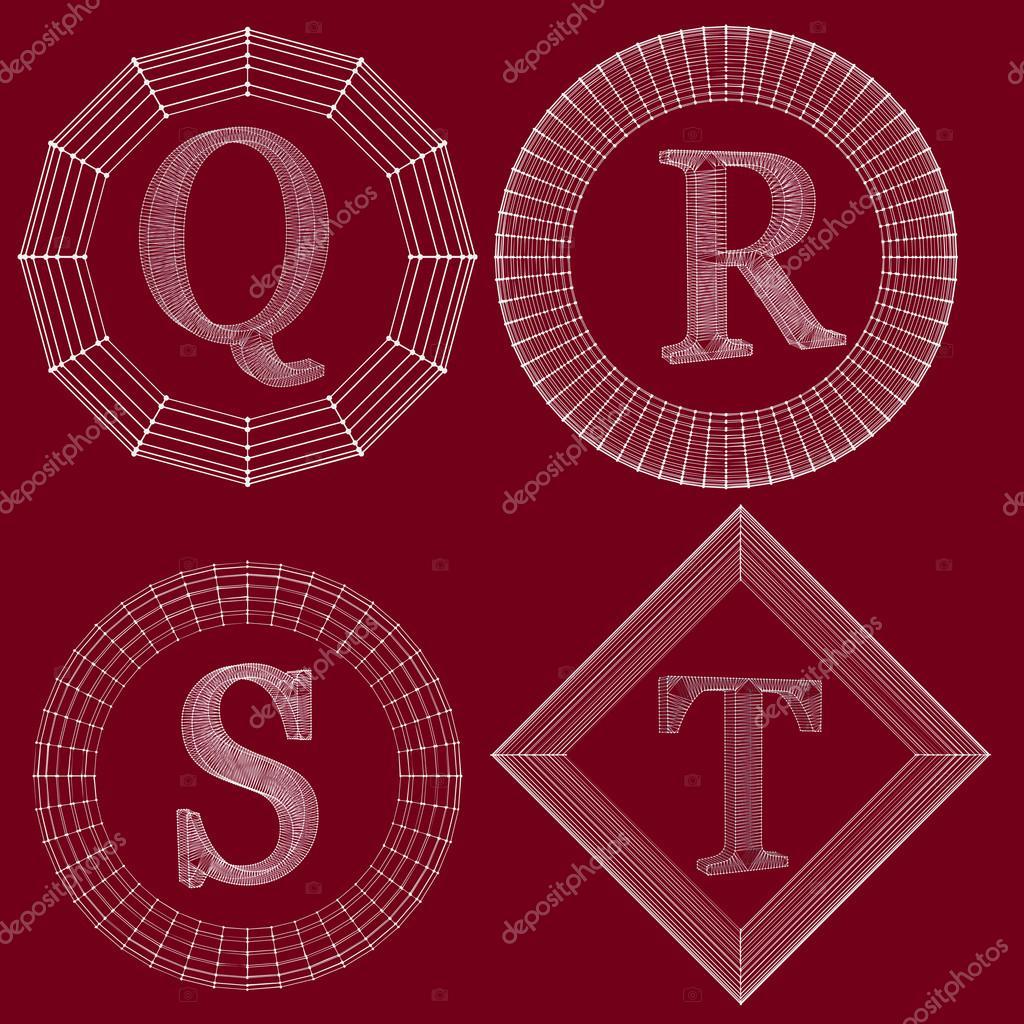 Zestaw Luksusowy Monogram Litery W Ramce Linii Podłączone Do