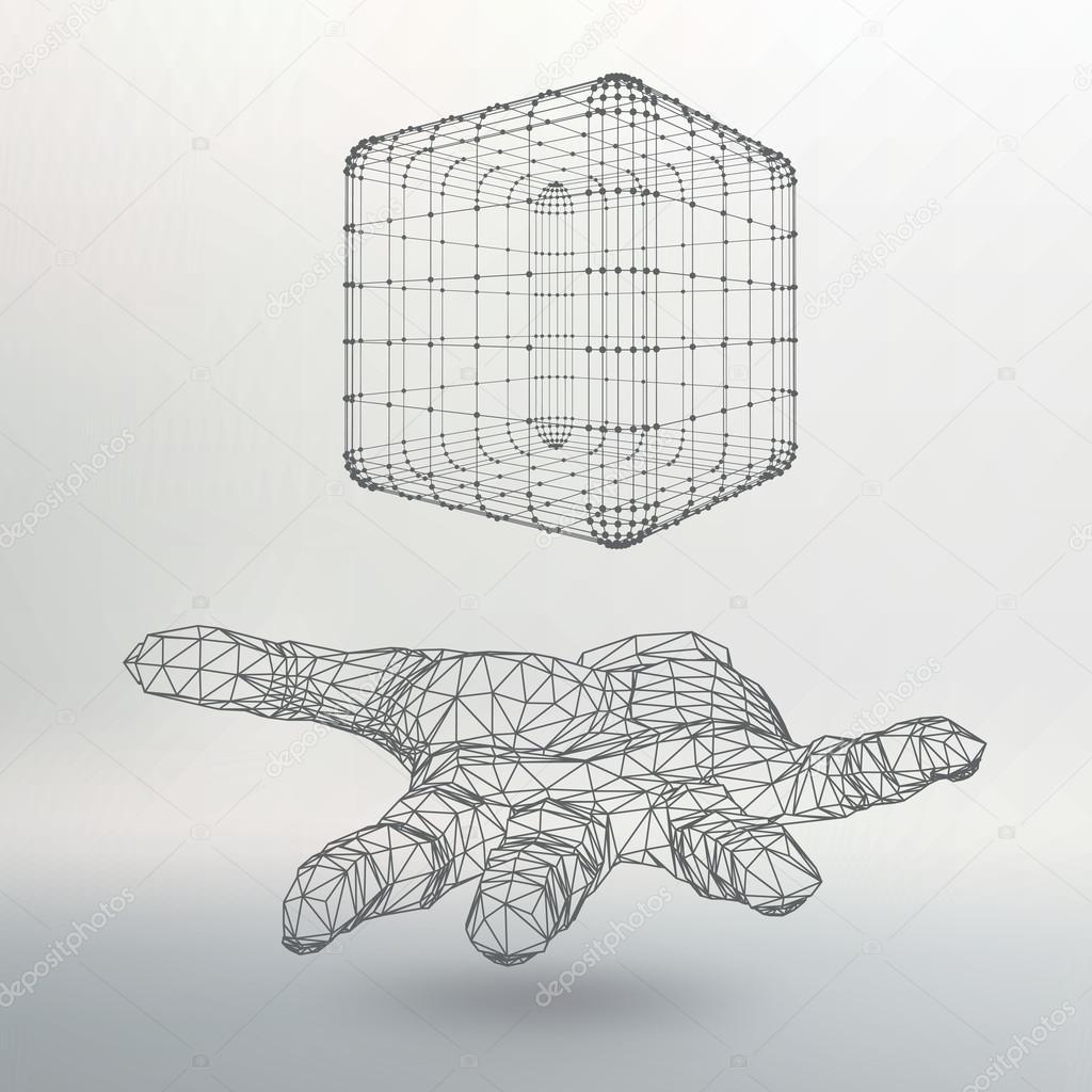 Würfel aus Linien und Punkten auf dem Arm. Die Hand hält einen ...