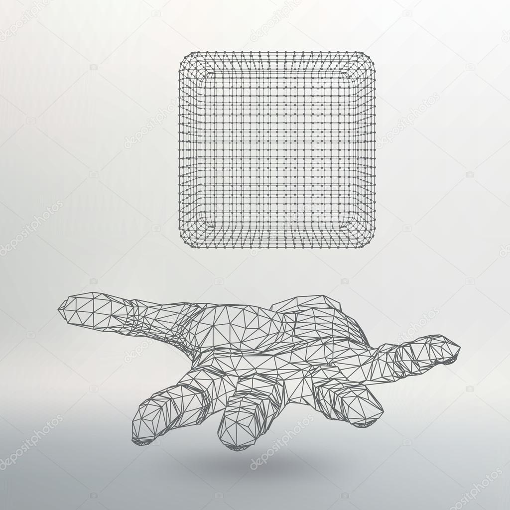 Würfel aus Linien und Punkten auf dem Arm. Die Hand mit Würfel der ...