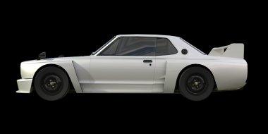 White sports coupe. White race car. Retro race. Japanese School tuning. Uniform black background. Three-dimensional model. Raster illustration.