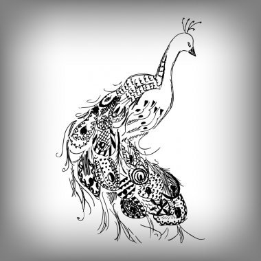 Hand drawn Peacock  for anti stress Coloring Page with high details, isolated on white background, illustration in zentangle style. Vector monochrome sketch. Bird collection.