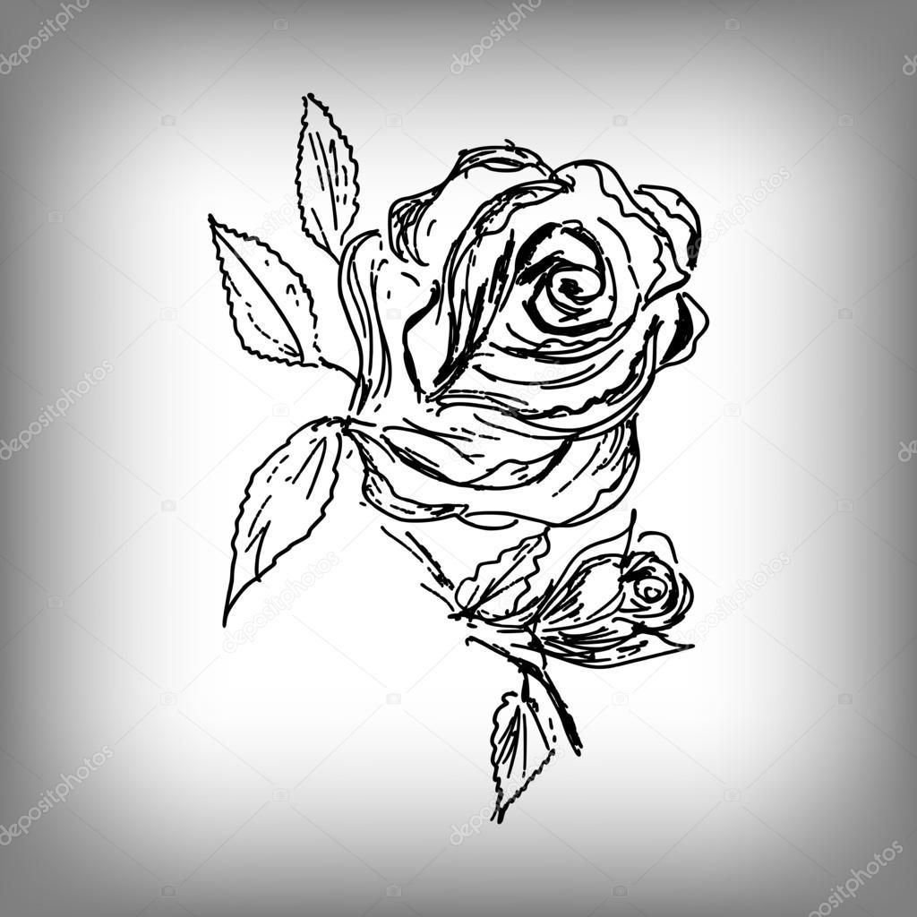 ベクターのバラの花手のイラスト白黒図面 ストックベクター