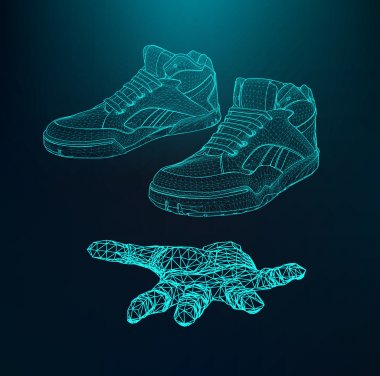 Vector illustration eps 10 of Sport shoes for running on the arm. The hand holding a shoes. Scope of lines and dots. Molecular lattice. The structural grid of polygons.