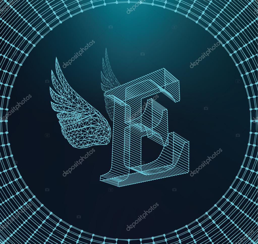 Vector illustration of letter E. Fonts of Mesh polygonal. Wire frame ...