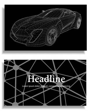 Abstract Creative concept vector background of 3d car model. Sports car. Polygonal design style letterhead and brochure for business