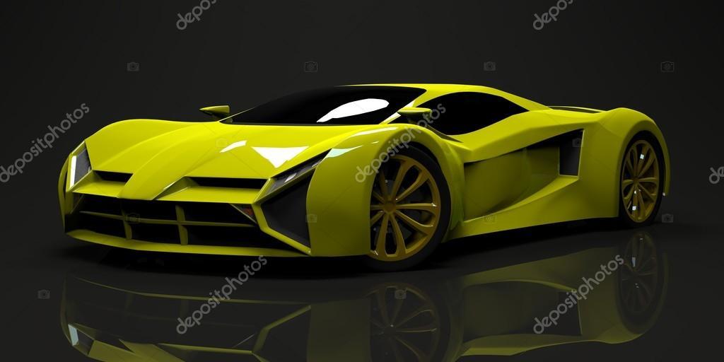 big shiny sports car premium conceptual design a prototype of fast transport of the future. Black Bedroom Furniture Sets. Home Design Ideas