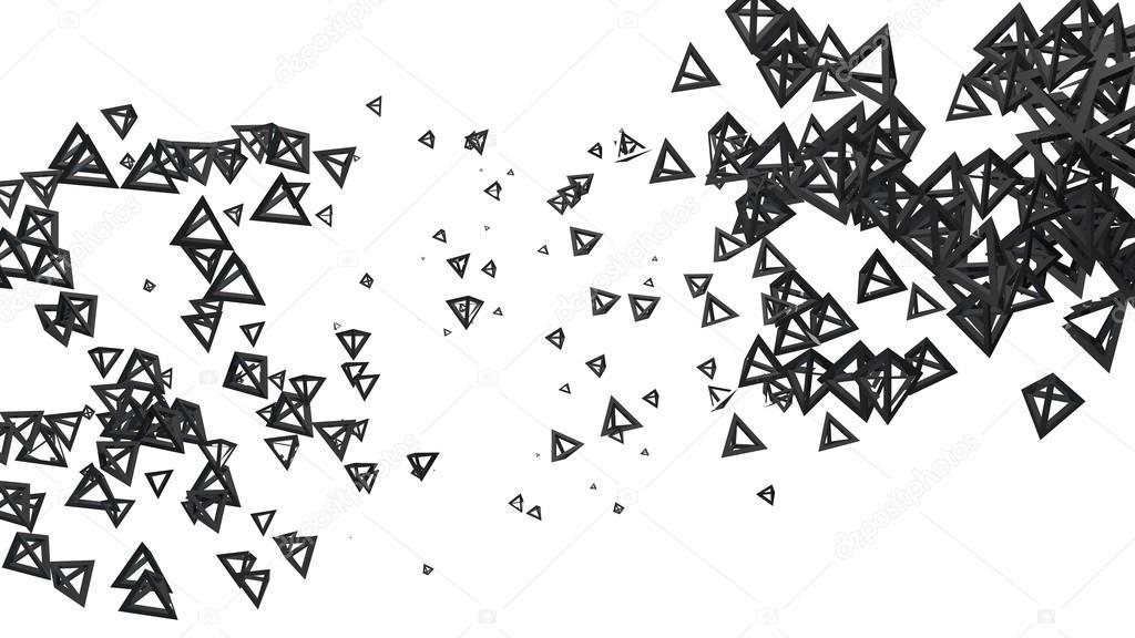 Estructura Piramidal Brillante En Orden Aleatorio En El Aire