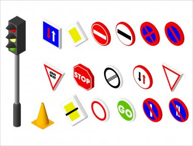 Isometric icons various road sign and traffic light. European and american style design. Vector illustration eps 10.