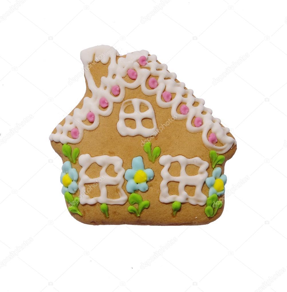 Colorido pan de jengibre con forma de casa aislada — Fotos de Stock ...
