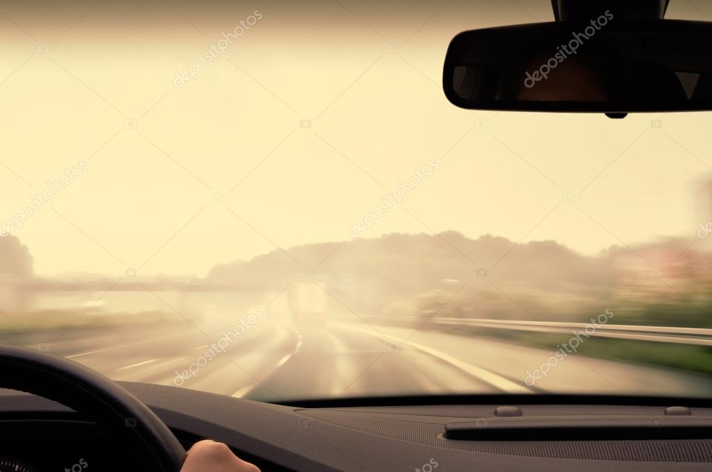 Bad Weather Driving - Driving on a Highway on a Rainy and Misty Day