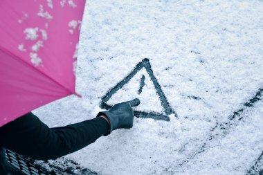 Caution Snow - Hand Drawn Warning Sign