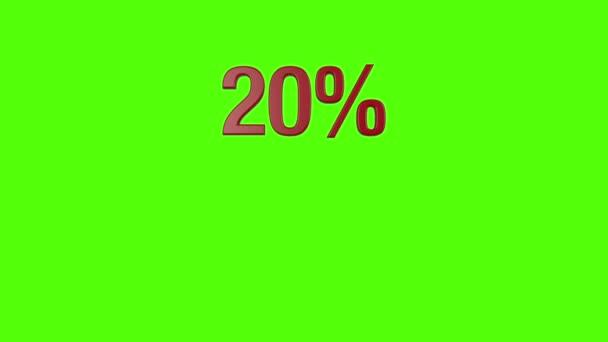 Sechs Prozent Text-Animationen: 10, 20, 30, 40, 50 und 60 auf grünen Bildschirm
