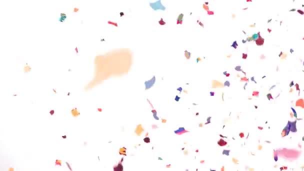 Video na pozadí barevné konfety - Zpomalený pohyb