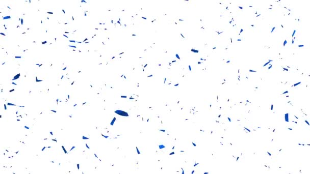 Blue Confetti on white Background - Slow Motion - Alpha Channel