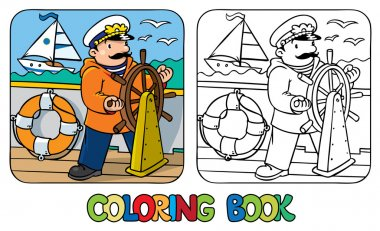 Funny captain or yachtsman. Coloring book