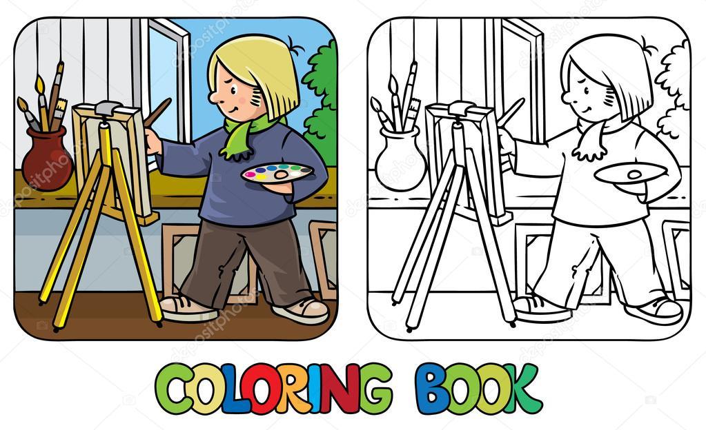 Divertido artista o pintor. Libro para colorear — Vector de stock ...