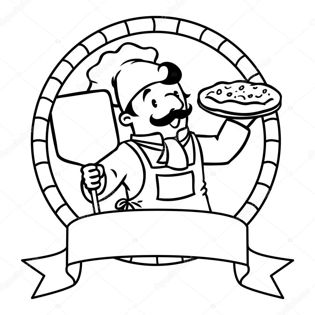 Boyama Kitabı Amblemi Ile Komik Aşçı Ya Da şef Stok Vektör