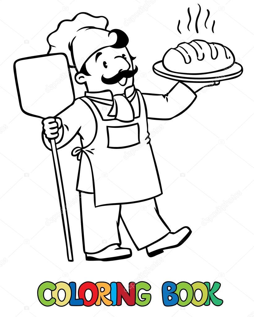 Komik Aşçı Veya Baker Ekmek Ile Boyama Kitabı Stok Vektör