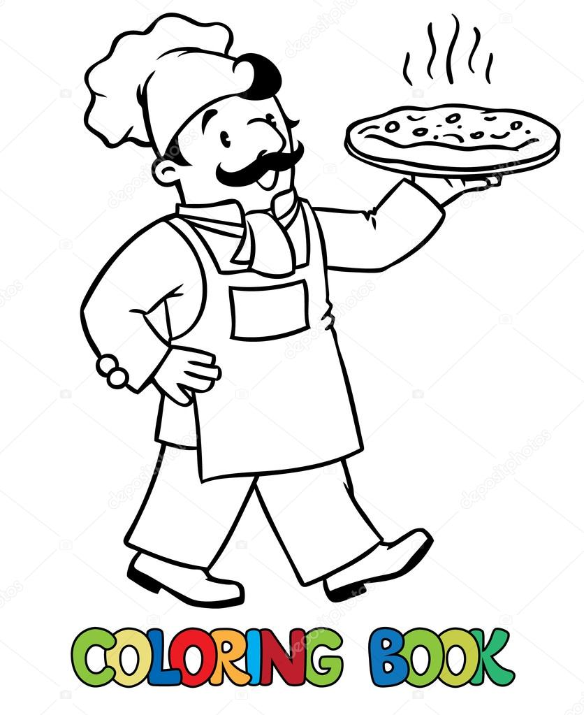 Libro de colorear de baker divertido o chef de pizza — Archivo ...