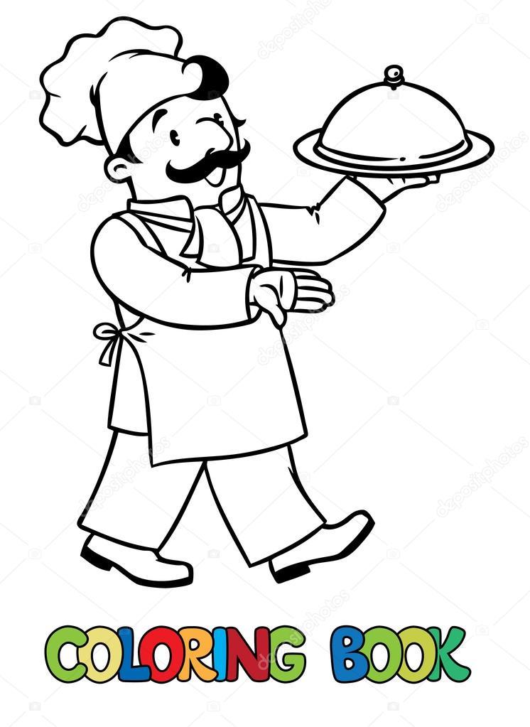 Komik Aşçı Ya Da Aşçı Tepsi Ile Boyama Kitabı Stok Vektör
