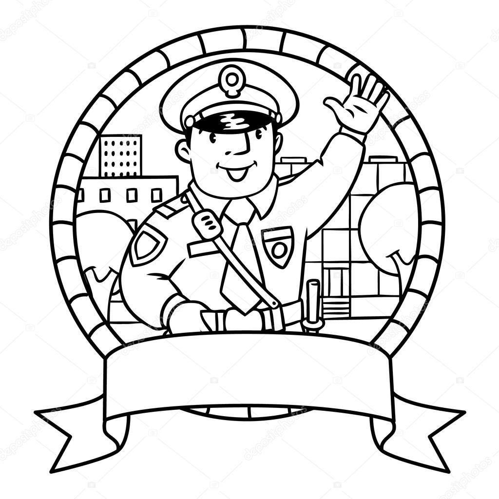 Komik Polis Boyama Kitabı Veya Amblem Stok Vektör Passengerz