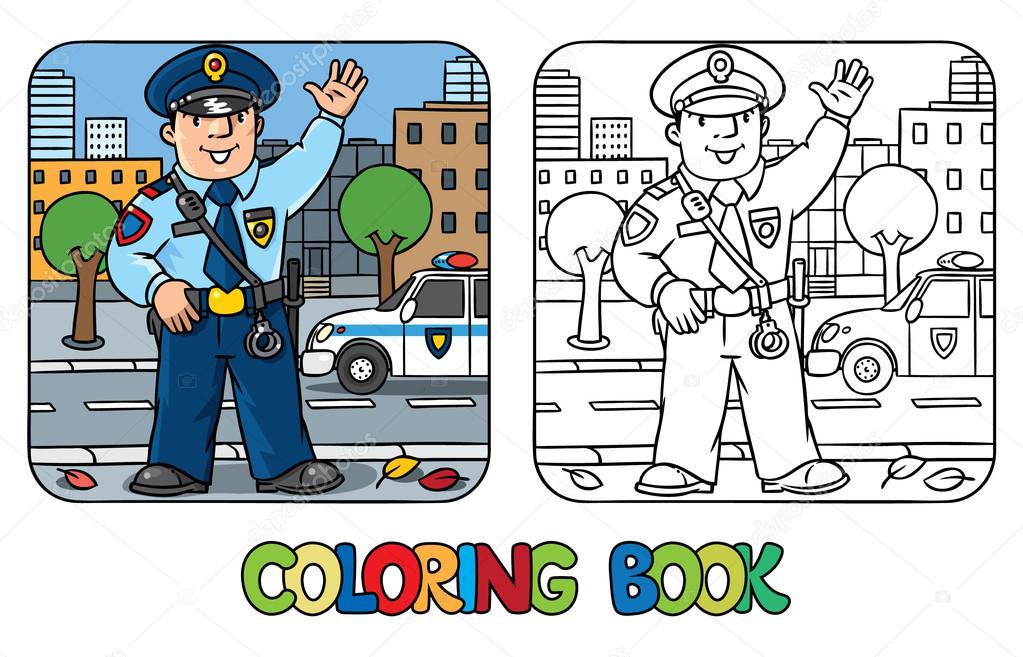 Komik Polis Boyama Kitabı Stok Vektör Passengerz 102589602