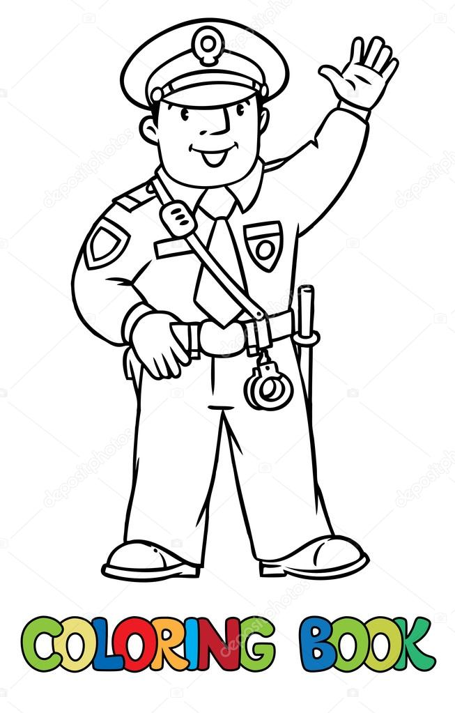 Funny policeman. Coloring book — Stock Vector © passengerz #102589606