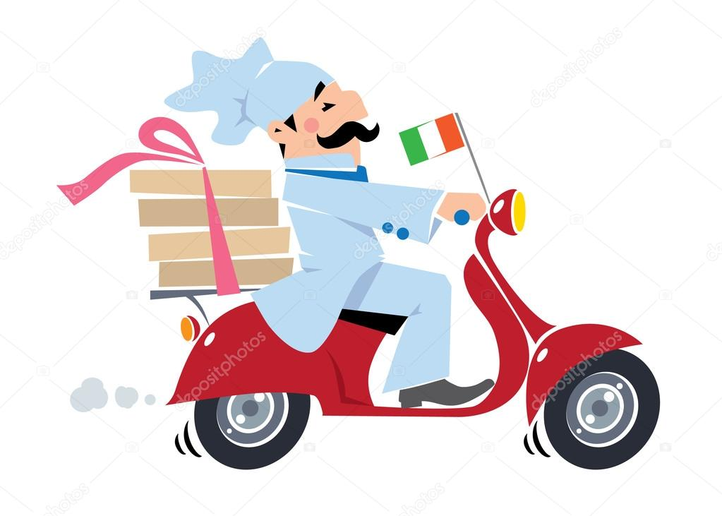 Chef de pizza divertida en scooter. Entrega de pizza — Vector de ...