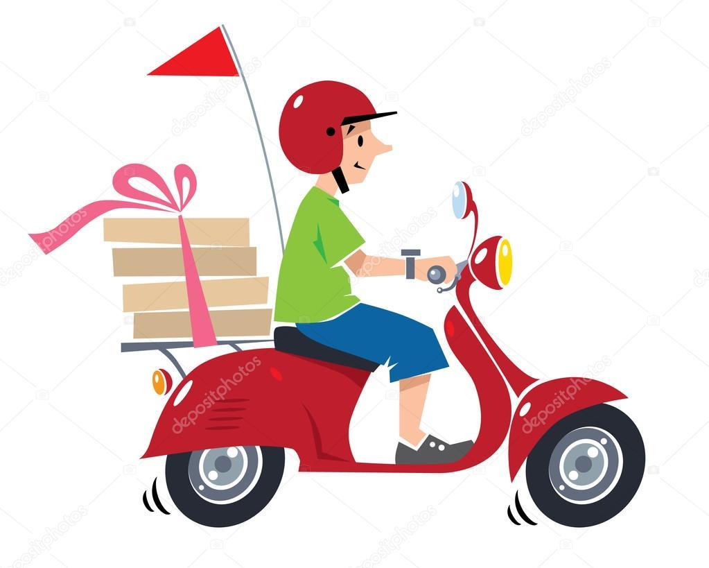 Mensajero de pizza divertida en scooter. Entrega de pizza — Archivo ...