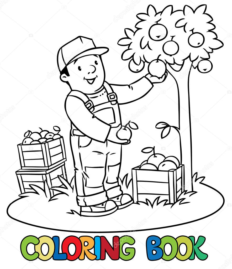 Coloring Book Of Funny Farmer Or Gardener In Overall And Baseball Cap With Apples His Hands Near The Apple Tree Boxes Profession Series