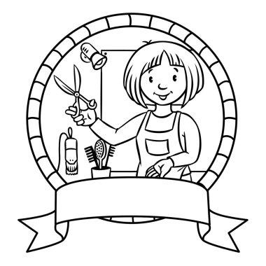 Funny hairdresser. Emblem. Profession ABC series