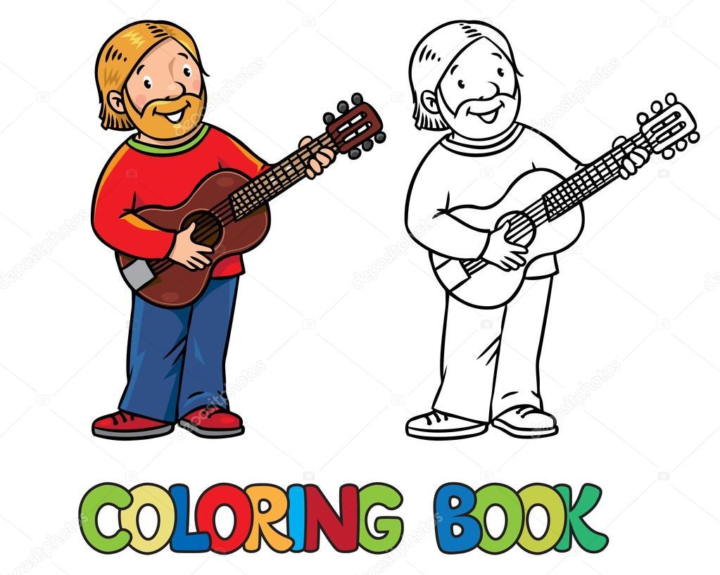 Curioso músico o guitarrista. Libro para colorear — Archivo Imágenes ...